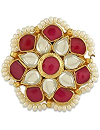 AccessHer Royal Jadau Kundan Statement Ring With Ruby Stones For Women
