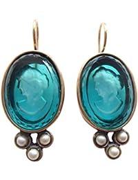 Blüten Ohrhänger Ohrringe Vintage Strass Blume blau hellblau antik silber Brisur
