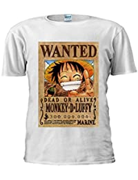 Japanese Manga One Piece Monkey Luffy Wanted Unisex T Shirt Top Men Women Ladies