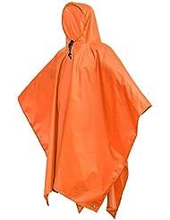Terra Hiker Poncho de Lluvia Multi-funcional, Esterilla 3-en-1, Sombrilla o Impermeable de Doble Capa Impermeable para la Escalada, Senderismo, Camping, Ciclismo, Pesca y Caza, en Naranja o Azul (Naranja)
