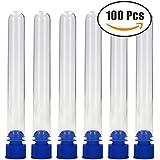 12x 100mm Plastique tubes à essai avec bouchons, Lot de 100