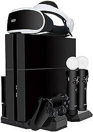 ieGeek [All-in-1] PS4 Slim / PS4 / PS4 Pro Vertikaler Standfuß mit 2 Kühler Lüfter - Ladestation für PlayStati