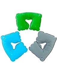 LD-Flocked inflable viaje u almohada cuello Al aire libre en forma de almohada