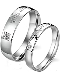 Beydodo Wedding Bands for Women and Men Size H 1/2-V 1/2 Heart Cubic Zirconia Silver Stainless Steel Ring