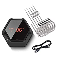 Inkbird IBT-6XS Bluetooth Wireless Grill Thermometer for Smoker Barbecue,6 Probes Digital Oven BBQ Thermometer, Rechargeable Battery, Timer, Alarm for Kitchen, Food, 150ft Meat Thermometers (Black)