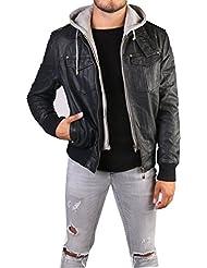 Veste en cuir synthétique noir à capuche