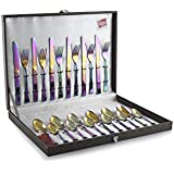 Shapes Artic Titanium Coated Rainbow 304 Grade, 18/10 & Cup Rolled 24 Pieces Cutlery Set With Gift Box