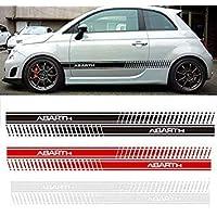 Sellify 2pcs Abarth Car Styling lateral de la falda Etiqueta compite con la raya Bodyfor FIAT