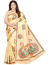 Maliqua Women's Poly Cotton Net Saree With Blouse Piece