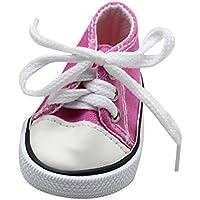 Kinder Spielzeug, Leinwand Lace up Sneakers Schuhe für 18 Zoll Unsere Generation American Girl & Boy Puppen vorgeben Spielen Spielzeug Geschenke (Pink, 7cm*4cm)