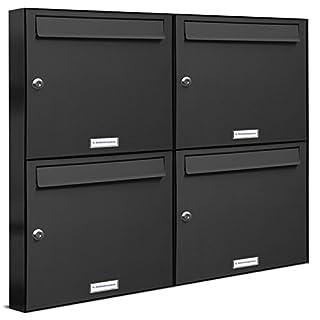 AL Briefkastensysteme 4er Briefkastenanlage Anthrazit Grau RAL 7016, Premium Briefkasten DIN A4, 4 Fach Postkasten modern Aufputz