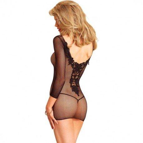 Preisvergleich Produktbild Leg Avenue 86609 - Fischnetz Minikleid mit auf der Rückseite eine Applique aus Venedig Spitze, schwarz (Größe: Einheitsgröße)