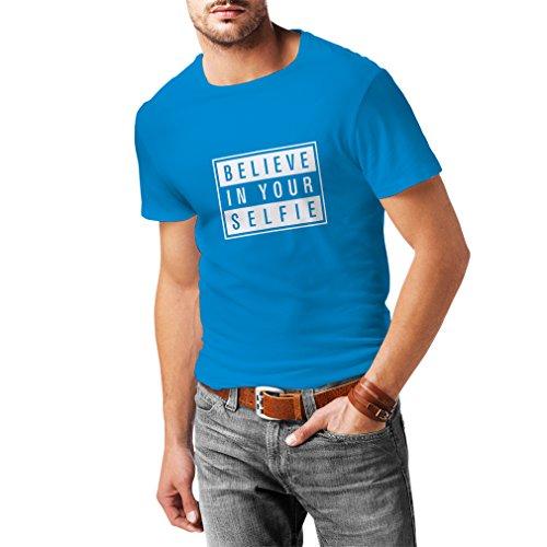 N4156 Believe in your Selfie funny gift, t-shirt Blau Weiß