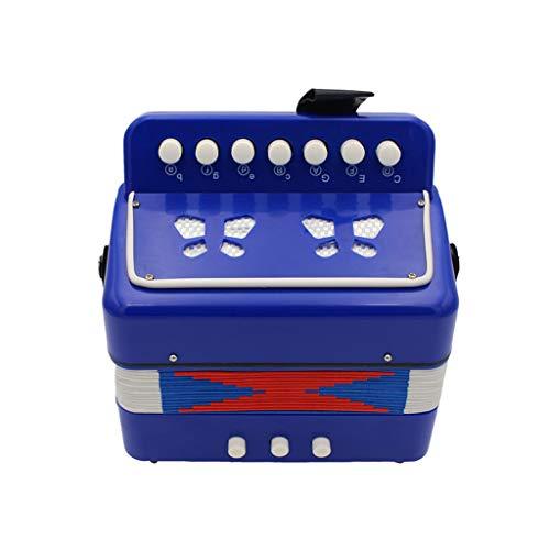 JHKJ Mini Kids Knopfakkordeon Instruments Mit 7 Tasten, 2 Bass, Early Learning Bildung Instrumente Musik Spielzeug,Blau