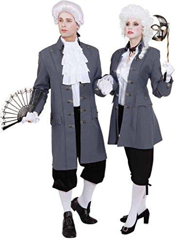 Orlob Damen Kostüm Barock Jacke de Luxe in grau zu Karneval Fasching Gr.36