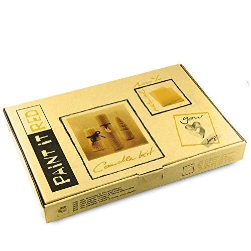 Paint it Red Bienenwachs-Kerzen selber Machen | 100{b99b02517bcee9ea5c20eb7317e25a2b69acb940eee3f16fc67e52b21ba92761} reines Bienenwachs aus Deutschland | DIY Bastel-Set für 5 Kerzen aus Bienenwachsplatten | Mit Deko-Band und Ausstechformen