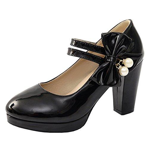 Artfaerie Damen Plateau High Heels Mary Jane Blockabsatz Pumps mit Schleife und Klettverschluss Lolita Rockabilly Lack Schuhe