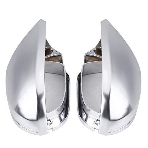 Qiilu coques de miroir rétroviseur boîtier, couvercle de protection mirror cache-rétroviseur chromé mat