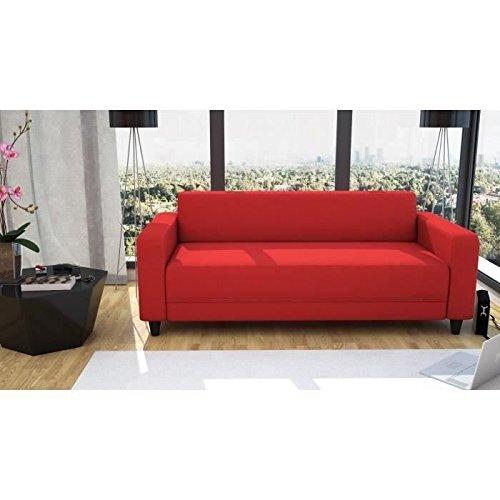 FINLANDEK Canapé droit fixe KULMA 3 places - 180x79x70 cm - Tissu - Rouge