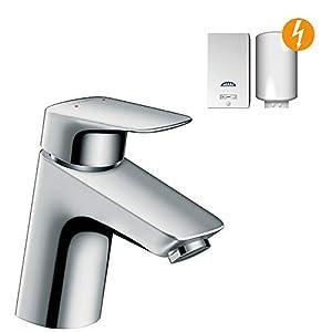 Hansgrohe 71074000 Logis 70 Grifo de lavabo para calentadores de agua abiertos, con vaciador Push-Open, Cromo