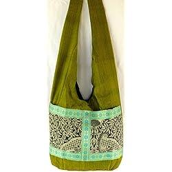Bolso bandolera, diseño étnico Bolso de mano Bolso de hombro Batik Hippie ethnic green bag-Bolso, color verde