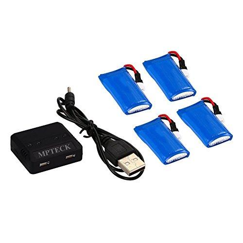 MPTECK @ Lipo Batterie Akku 3,7V 380mAh x4 + Ladegerät für RC Quadcopter Hubsan X4 X 4 H107D H107C FPV Drone
