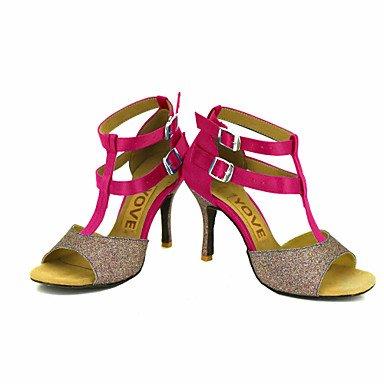 Scarpe da ballo-Personalizzabile-Da donna-Balli latino-americani Salsa-Tacco su misura-Raso-Nero Blu Giallo Rosa Viola Rosso Bianco White