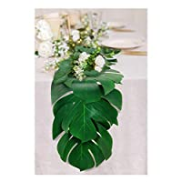 LIVACASA Decorative Artificial Plants 36pcs Artificial Tropical Leaves for Jungle Beach Theme Party Simulation Faux Monstera Leaves Hawaiian Luau Party Natural Table Decorations