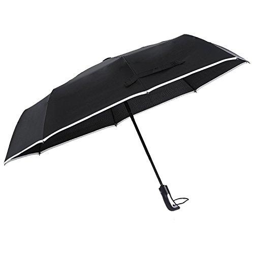 Regenschirm Taschenschirm Auf-Zu-Automatik - LOUISWARE Transportabel, Klein Schirm, Leichter, Tragbarer und Kompakter Winddicht Regenschirm für Business, Freizeit oder Reisen, Schwarz ... (A) (Lesen Baldachin Für Kinder)