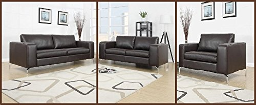 Madison Sofa Set 3er & 2er & 1er Wohnlandschaft Braun