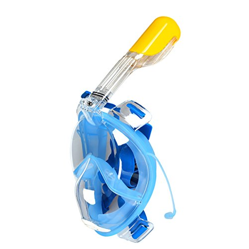 Vollgesichts Atmung Schnorchelmaske Tauchmaske Tauchermaske Schnorchel Anti-Fog Anti-Leak Schnorchel Maske Schnorcheln Maske Unterwasser-Tauchen Schwimmen Schnorchel-Set mit 180° Betrachtungsfläche Watersport Breath Swim für Gopro Kamera BlauL/XL
