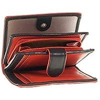 82cec381b7 Portafoglio Donna nero e rosso 4 scomparti e porta monete zip vera pelle  Made in Italy
