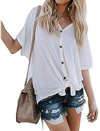 Camisetas Mujer Verano Manga Corta V Cuello Un Solo Pecho Camisas Mujer Moda Elegantes Anchos Casuales