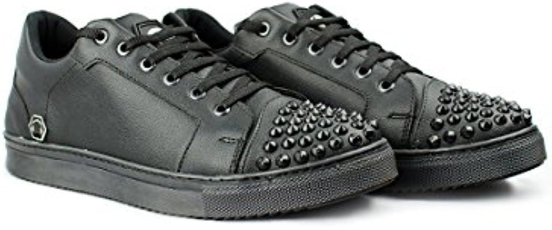 DJ White Mixer Studs Low Top Sneaker Black