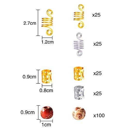 Lvcky 200Stück Hair Flechten Extension Set, Haare Flechten Manschetten Aluminium Dreadlocks Metall Braid Spulen Manschette und Holz Haar Aufreihmaterialien Perlen, 3Styles