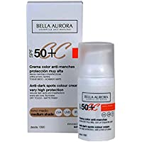 Bella Aurora, Crema diurna facial (SP50+, piel normal, color medio) - 30 ml.