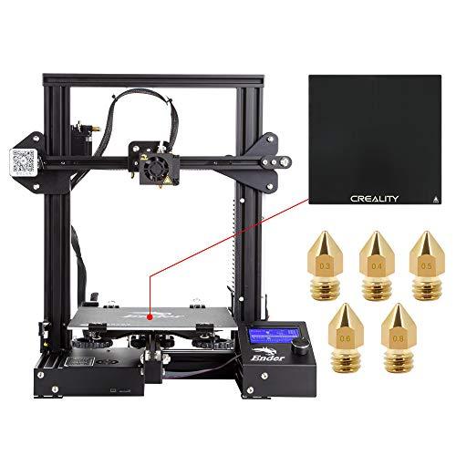 Comgrow Creality DIY 3D Drucker Ender 3 mit Gehärteter Glasplatte und Fünf Düsen 220x220x250mm Druckgröße (Ender-3X)