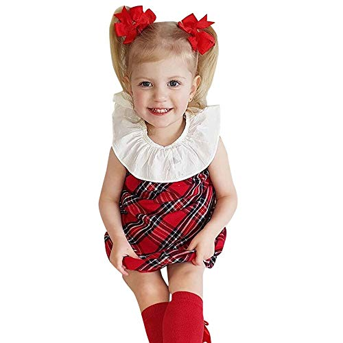 (Baby Mädchen Kleidung Kleider,Kinder Kostüm Kurzarm Prinzessin Kleid Weihnachten Puppe Kragen Plaid Kleinkind Infant Cartoon Peter Pan Rock Ostergeschenk Festliche Kleider 6M-3Y(Rot,100))