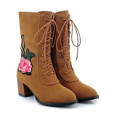RTRY Scarpe donna pelle Nubuck caduta molla Comfort cinturino alla caviglia stivali Chunky tallone punta tonda Mid-Calf stivali Lace-Up fiore per Abbigliamento Casual US5.5 / EU36 / UK3.5 / CN35