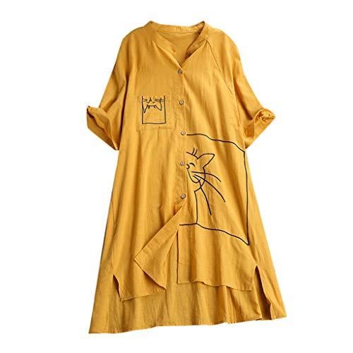 Zegeey Damen Kurzarm Oberteil T-Shirt Rundhals Ausschnitt Baumwolle Und Leinen Cat Drucken Asymmetrischer Saum Lose LäSsige Bluse Hemd Shirt Blusen Locker Basic Tops(A8-Gelb,XL) -