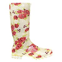 P415 CREAM WITH FLORAL RED FLOWERS LADIES WOMENS GIRLS WELLIES RAIN BOOTS SIZES 3 4 5 6 6.5 7 V FESTIVAL READING
