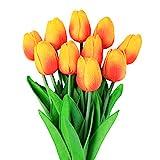 10 unids Tulipanes Artificiales tulipanes flores reales falsas para la decoración de la boda del partido del hotel en casa, naranja