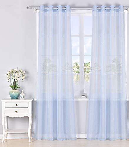 Pimpamtex | modello chiara | tende tenda per soggiorno camera da letto e stanza | confezione da 2pezzi | con 8occhielli | 140x 260cm | (azzurro)