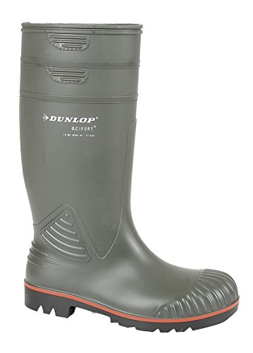 DUNLOP ACTIFORT STEEL TOE SAFETY WELLIES SIZE UK 6 - 14 MENS PVC GREEN W138E KD-UK 10 (EU 44) - Steel Wasserdicht Stiefel Toe Arbeit