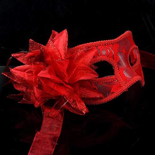 JASNO Spitze Blume & Feder Venezianische Maskerade Halloween Ball Karneval Augenmaske Schwarz und Weiß Rot 3 Stück Set,Red