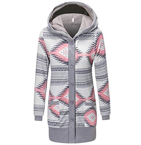Tomatoa Damen Mantel Kapuzenpullover Button-Down Langarmshirt Jacke Steppjacke Windjacke Übergangsjacke Outwear Elegante Pullover Slim Fit Coat