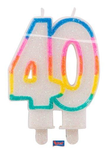 Velas brillantes para 40 cumpleaños, aniversario