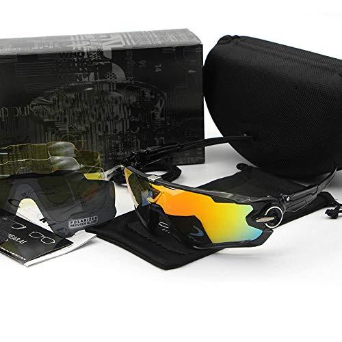 fennd Mode Brille polarisierte Sonnenbrille Radsportbrille Berg polarisierte Sport-Sonnenbrille Vier Stück @ All schwarz + Silber Standard Polarisator