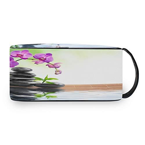 QMIN Kulturbeutel, japanische Zen-Orchidee, Bambus, Kulturbeutel, multifunktional, Kosmetiktasche, Make-up-Tasche für Jungen, Mädchen, Damen, Herren
