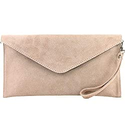 modamoda de - T106 - ital Clutch/Abendtasche aus Wildleder, Farbe:Rosabeige